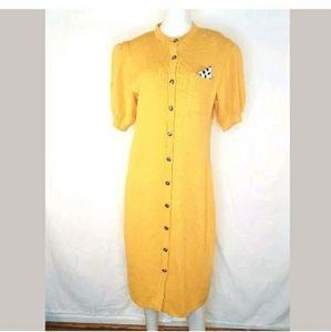 ST. John Marie Gray Yellow Button Down Shift Dress